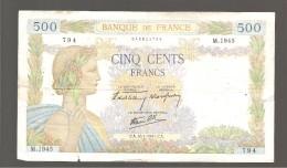 Cinq Cent Francs  CA  16-1-1941  CA - 500 F 1940-1944 ''La Paix''
