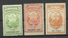 COSTA RICA 3 Old Revenue Stamps Steuermarken Timbre Proporcional (*) - Costa Rica