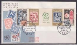 = Exposition Philatélique Internationale Philatec Paris 1964 N° 1417A Enveloppe 1er Jour 9.5.64 N°1414 1415 1416 1417 - FDC