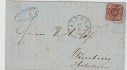 Ham035 / Dän. P.A. Altona 1860 Nach Oldenburg (Holstein) Rückseitig  Stempel Altona-Bahnhof - Hamburg
