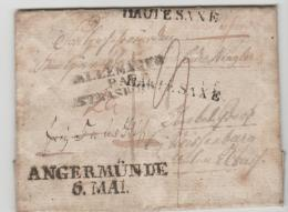 Pre271 /  PREUSSEN - Angermünde 1818 Nach Frankreich. Haute Sax In Schwarz, 2 X Abgeschlagen. - Duitsland