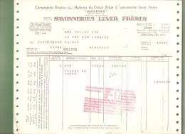Facture - SAVONNERIES LEVER FRERES - Bruxelles - 1951 - Droguerie & Parfumerie