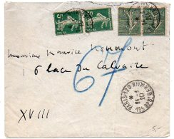 Semeuse Sur Lettre Pneumatique Du 24.3.20 - Postmark Collection (Covers)