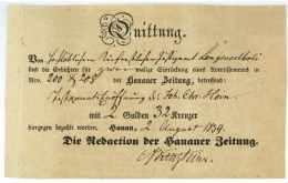 HANAU - Hanauer Zeitung 1839 - Quittung - Kinsteiner - Langenselbold - Documentos Históricos