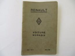 Automobile  RENAULT - Voiture Monasix, Notice D'Entretien - 58 Pages - Auto