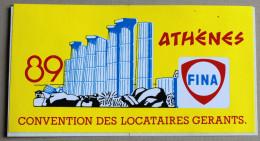Autocollant FINA Athènes 1989 Convention Des Locataires Gérants - Voitures (Courses)