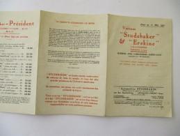 Automobile  STUDEBAKER - Tryptique Tarif 1928 - Auto