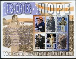 Antigua And Barbuda, 2002, Entertainment, Bob Hope, MNH Sheet, Michel 3777-3782 - Antigua And Barbuda (1981-...)