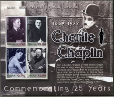 Ghana, 2003, Charlie Chaplin, Film, Cinema, Movie, Actor, MNH Sheet, Michel 3539-3542 - Ghana (1957-...)