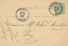 Entier Postal Lion Couché LANDEN 1884 - Origine Manuscrite ELIXEM - Signé Veulemans - XX465 - Entiers Postaux