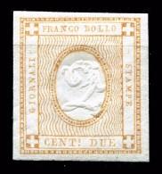 Regno D´ITALIA 1862 CIfra In Rilievo C.2 Per Giornali Stampati Sassone N°10 MLH * - 1861-78 Victor Emmanuel II.