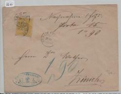 Sitzende Helvetia/Helvétie Assise Nr. 39 Von Schlieren VII P.K. (Zwergstempel) Nach Zürich - 1862-1881 Sitzende Helvetia (gezähnt)