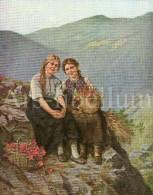 Large Original Illustration / Die Gartenlaube 1908 / Artist Signed / A. Müller Lingke / Alpenrosen / Girls - Prenten & Gravure