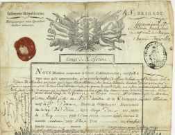 Guerres De La Revolution - Conge - BRUXELLES 1795 Belgique - General CHAPUIS DE TOURVILLE (1740-1809) St Gervais Tournai - Historical Documents