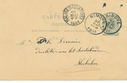 Entier Postal Lion Couché NINOVE 1891 - Origine Manuscrite POLLAERE - Signé Boeykens , Pastoor - XX468 - Entiers Postaux