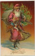 Nice Embossed Santa Claus Pere Noel Gaufrée Robe Rouge  Lampion Poupée - Santa Claus
