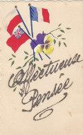 Militaria - Guerre 39-45 - Drapeau Alliés - Carte Peinte Paillettes - Weltkrieg 1939-45