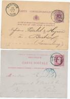 2 X Entier Postal Lion Couché Et Type TP 30 HUY 1879/1885 - Origine Manuscrite STATTE (HUY) - XX471 - Entiers Postaux
