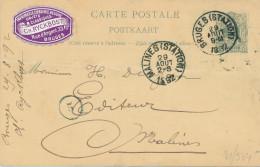 Entier Postal Lion Couché BRUGES 1892 - VIGNETTE Imprimerie Librairie Ryckborst ( Acceptée Par La Poste) - XX474 - Entiers Postaux