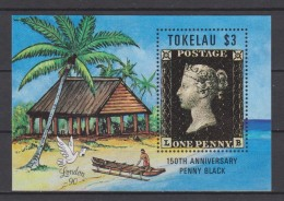 Tokelau Block Mi 1 150 Anniversary Penny Black - Sea Shore - Palm Tree- Traditional House * * - Tokelau