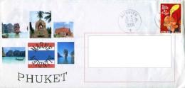 ENV. Avec Timbre à Date De L´Agence Postale Navale Embarquée ALINDIEN (Au Verso Carte PHUKET) - Marcophilie (Lettres)