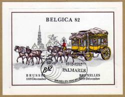 Carte Millénaire De Bruxelles Avec Bloc 59 2077 Belgica 82 Malle-poste - 2 Scans - Belgium