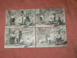 """METIER GENDARME"""" EN MARAUDE DE BOIS"""" BUCHERON   1900 LOT 4 CPA  STYLE SCENETTE SERIE ENFANT HUMOUR   EDIT CIRC OUI - Collections, Lots & Séries"""