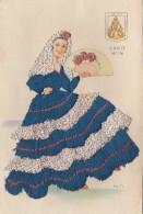 CP Danseuse Vêtue D'une Robe Bleue Et Blanche, D'une Coiffe Brodée - Cadiz - Embroidered