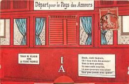 - Ref -L 314 - Carte A Systeme -  Depart Pour Le Pays Des Amours - Train De Plaisir Vers La Terre Promise - Trains - - Autres