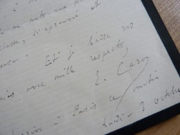Elme CARO (1826-1887) Philosophe ACADEMIE FRANCAISE - Autographe - Autographes
