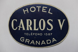 ETIQUETTE - HOTEL - ESPAGNE - HOTEL CARLOS V - GRANADA - Hotel Labels