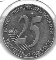 *ecuador 25 Centavos  2000  Km 107  Xf+ - Equateur