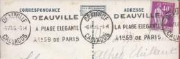 'Élégante Plage Deauville à 1h59 De Paris' Flammula Distribué Calvados 1936.Postal Plage Trouville. Caen.Normandia.2scan - Lettres & Documents