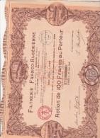 ACTION ILLUSTREE DE 100 FRS -FILTRERIE FRANCO - ALGERIENNE - 1928 - Shareholdings