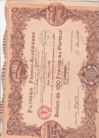 ACTION ILLUSTREE DE 100 FRS -FILTRERIE FRANCO - ALGERIENNE - 1928 - Altri