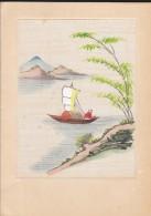 ASIE--CAMBODGE---PHNOM-PENH--peinture Sur Soie-faite à La Main--CARTE DOUBLE-voir 3 Scans - Cambodge