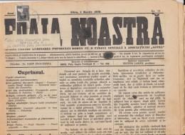 FOAIA NOASTRA, NEWSPAPER, ASTRA SIBIU, KING MICHAEL STAMP, 8 PAGES, BIG SIZE, 1929, ROMANIA - Books, Magazines, Comics