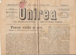UNIREA, ECCLESIAL AND POLITICAL NEWSPAPER, KING FERDINAND STAMPS, BIG SIZE, 4 PAGES, 1927, ROMANIA - Bücher, Zeitschriften, Comics