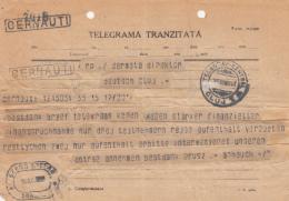 TELEGRAMME SENT FROM CERNAUTI TO CLUJ NAPOCA, WRITTEN IN GERMAN, 1931, ROMANIA - Télégraphes