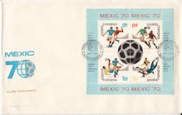 SOCCER WORLD CUP, MEXICO'70, COVER FDC, 3X, 1970, ROMANIA - 1970 – Mexique