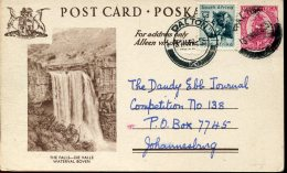 8994, South Africa, Stationery Card Circuled 1955 Showing The Falls Waterval Boven, Waterfall Wasserfall Cascade - Eau