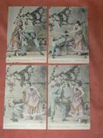 "FEMME   FRIVOLE""  AMOUREUSE CORRIDA ""1900 LOT 4 CPA  STYLE SCENETTE SERIE EROTIQUE COQUINE  EDIT CIRC OUI - Verzamelingen & Reeksen"
