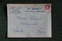 Enveloppe Timbrée Publicitaire , ALES, P. MARTY, Cordages Et Ficelles, Vannerie. 3 Rue Docteur SERRES - Lettres & Documents
