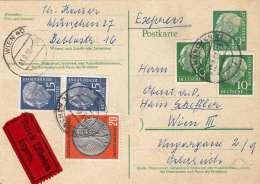 Deutsche Post 1958 - 6 Fach MIF Auf Express-Pk Gel.München > Wien - [7] Federal Republic