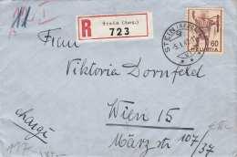 Schweiz 1942 - 60 C (Ank388) Frankierung Auf R-Zensur-Brief (Nachporto, Rote Zensurstempel) Gel.v.Stein Aargau > Wie