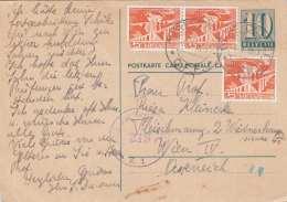 Schweiz 1953 - 10 C Ganzsache + 3 X 5 C Frankierung + Zensurstempel Auf Pk Gel.v.Couvet > Wien