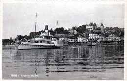 Schweiz 1949 - 5 + 2 X 10 C Frankierung + Zensurstempel Auf Ak (NYON Vu Du Lac, Dampfschiff) Gel.v.Nyon > Wien - Schweiz