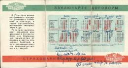 Russia USSR 1960 Pocket Calendar Insurance Propaganda Calendario Kalender Holidays - Calendars