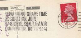 1969 Nottingham GB Stamps COVER SLOGAN Pmk JOIN 87 SQN T & AVR REWARDING SPARE TIME OCCUPATION  (postcard Nottingham) - Briefe U. Dokumente