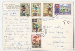 1971 SAN MARINO COVER To SWITZERLAND  T 50 UNDERPAID Stamps  DISNEY CARTOON MUSHROOM  PHILATELIC CONGRESS Fungi Card - San Marino